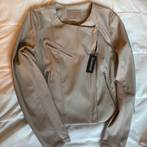 Blank NYC faux leather moto jacket in tan